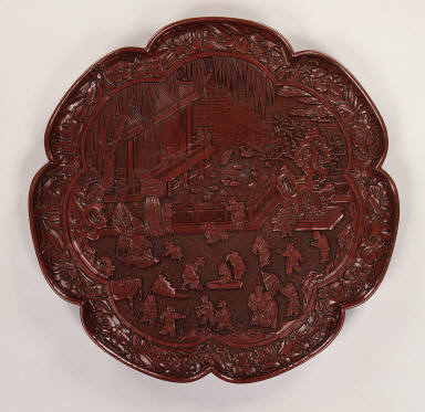 Seven-lobed platter with scene of children at play