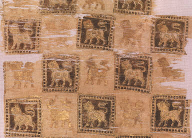 [Fragment, Textile, Fragment with Printed Lions]
