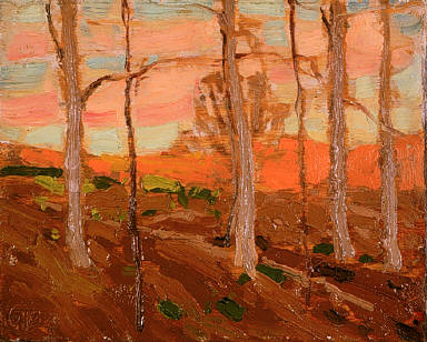 Trees, Red Hill, and Sunset Sky