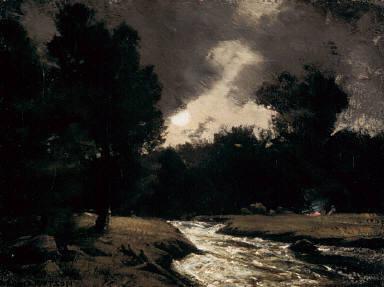 Rushing Stream by Moonlight