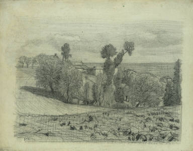 View of a Farmstead Overlooking the Sea