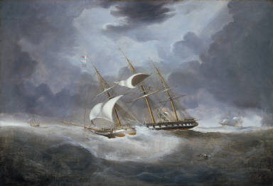 """H.M.S. """"Warspite"""" in a Gale of Wind"""