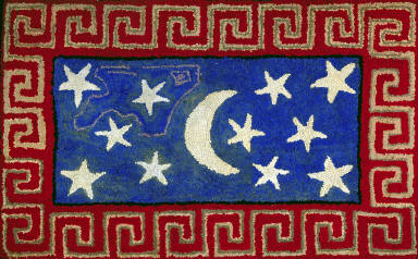Hooked Rug with Stars, Crescent and Fret