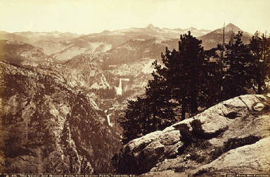 The Vernal and Nevada Falls, from Glacier Point, Yosemite