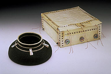 Contrary Black Box in a White Basket with Three Black Stripes and Five Missing Abalone Pendants insidethe Basket