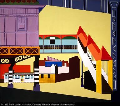 "Sixth Avenue ""L"" (mural, Williamsburg Housing Project, New York)"