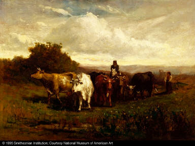 Untitled (man on horseback, woman on foot driving cattle