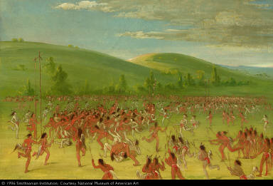 Ball Play of the Choctaw--Ball Up (With Tipis in Background)