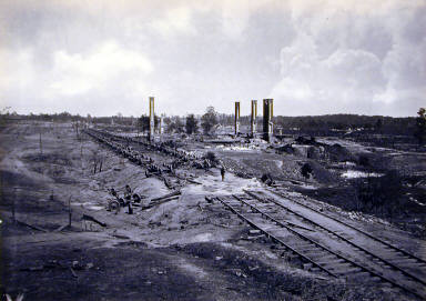 Destruction of Hood's Ordinance Train. Plate 44 from Photographic Views of Sherm