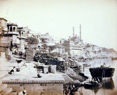 Benares: The Great Mosque of Arungzebe (?) and adjoining Ghats