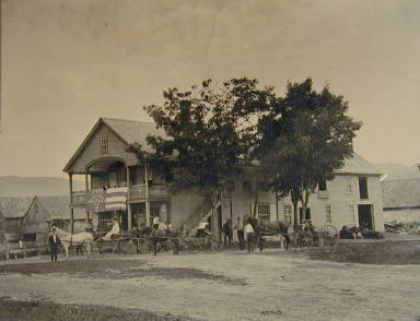 Carriages and Building with Star Flag