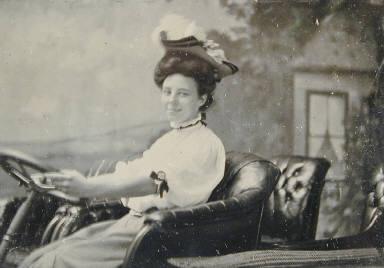 Studio Portrait of Woman in Car