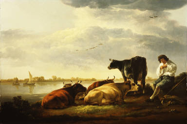 Cows and Herdsman by a River