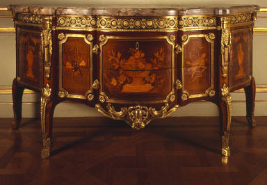 Commode with Pictorial Marquetry Showing Flower-Draped Vases and Hanging Trophies