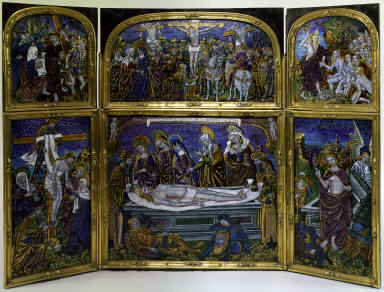 Limoges Painted Double Triptych: Six Scenes from the Passion