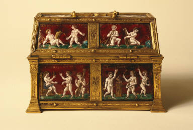 Limoges Painted Enamel Casket: Putti and Mottoes of Courtly Love