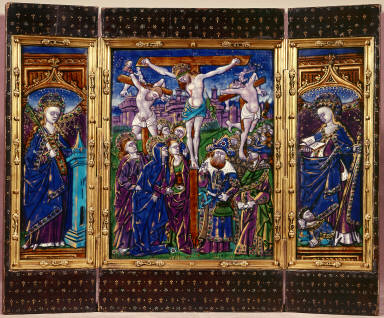 Limoges Painted Triptych: The Crucifixion; St. Barbara; St. Catherine of Alexandria