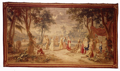 One of Two Tapestries with Hunting Scenes