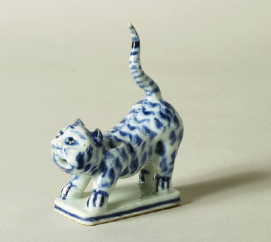 Blue and White Statuette of a Tiger