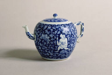 Blue and White Teapot with Male Figures