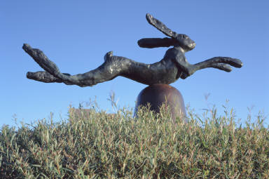 Hare on Bell on Portland Stone Piers