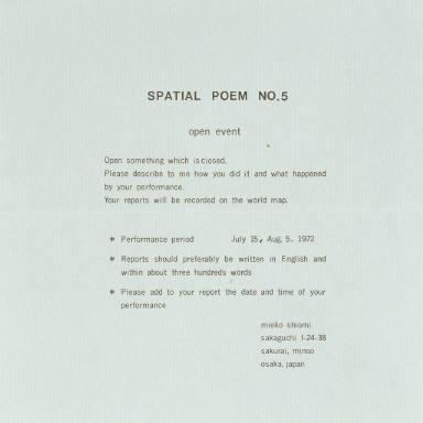 Spatial Poem No. 5/open event