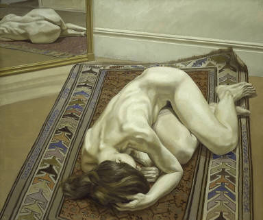 [Female Model on Oriental Rug with Mirror, Reclining Nude on Oriental Rug with Mirror]