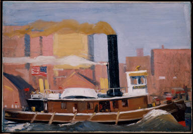 Tugboat with Black Smokestack