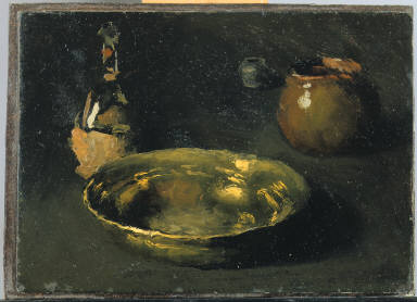 (Still Life with Wine Bottle and Metal Bowl)