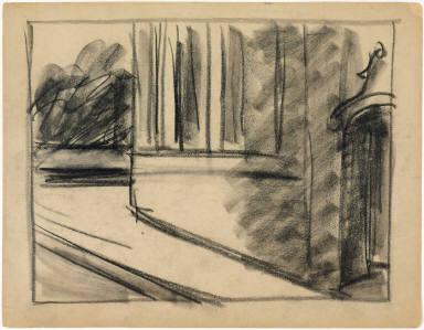 [Study for August in the City, Drawing for painting August in the City]