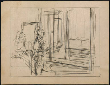 [Study for Hotel by Railroad, Drawing for painting Hotel by Railroad]