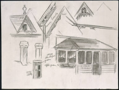 [Study for House by a Road, Drawing for painting House by a Road]