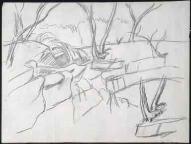 [Study for painting Bridle Path, Drawing for painting Bridle Path]