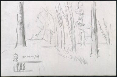 (Trees and Balustrade - Study for and unidentified work)