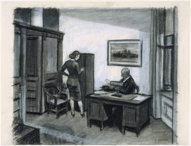 [Study for Office at Night, Drawing for painting Office at Night]