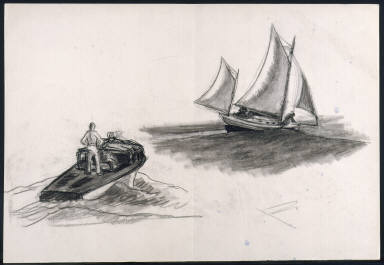 [Study for Yawl Riding a Swell, Drawing for watercolor Yawl Riding a Swell]