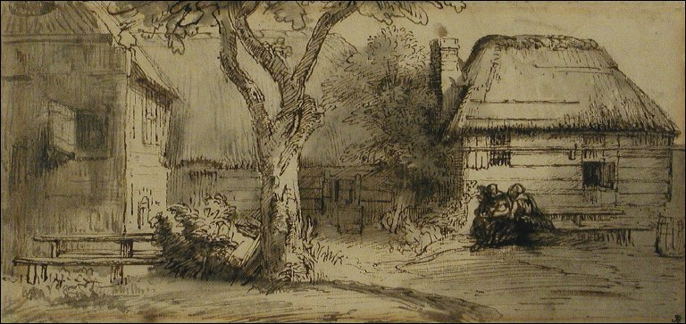 Farmyard with Tree and Figures