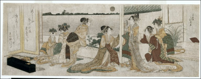 Tsukasa and Other Courtesans of the Ogiya Watching the Autumn Moon Rise Over Rice Fields from a Balcony in the Yoshiwara
