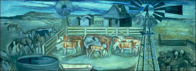 Afternoon on a Texas Ranch (Mural Study, Lampassas, Texas Post Office)