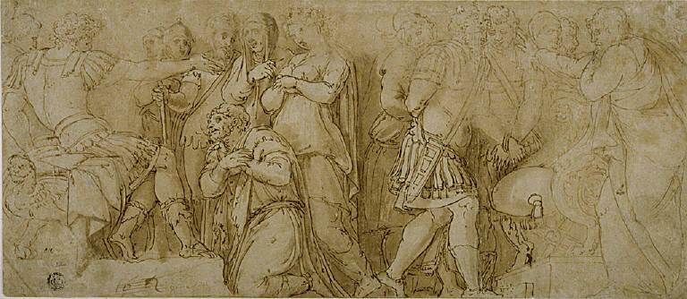Family of Darius before Alexander; Prisoners before a Senator