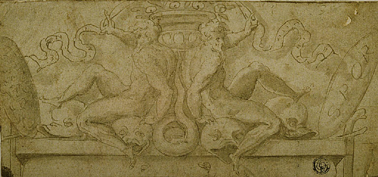 Design for Overdoor: Two Ignudi with Dolphins and Shields
