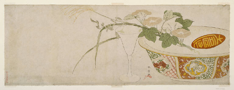 Plants, porcelain bowl, and glass goblet