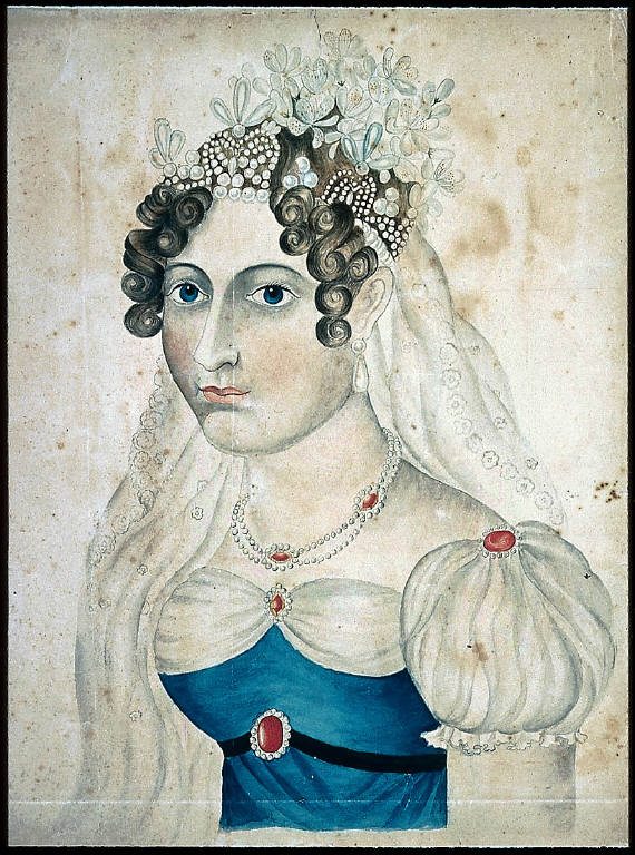 Lady's Coiffure with Flowers and Jewels