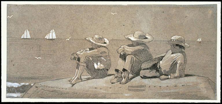 Three Boys on a Beached Dory
