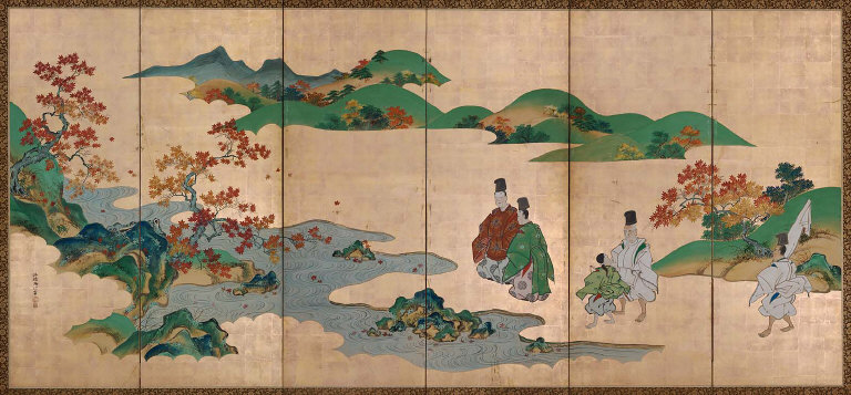Two Poets and Autumn Foliage by the Tatsuta River