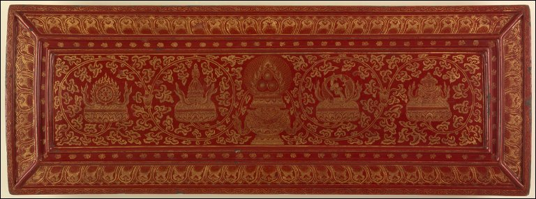 Sutra Cover (Jingzhiban) with Three Flaming Jewels (Sanbao) and Four of the Eight Buddhist Symbols (Bajixiang)