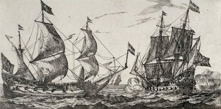 2 Men Of War At Full Sail