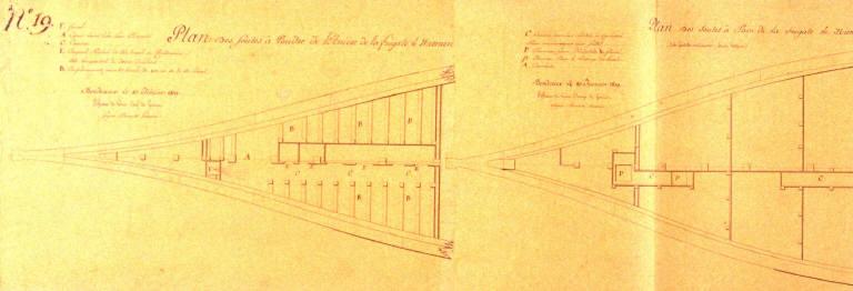 Three Section Plans for the Frégate Niemen