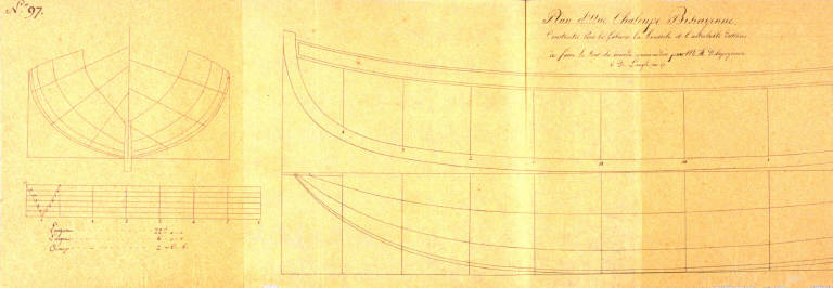 Longitudinal and cross section of a Shallop (Longboat) from the Bay of Biscay