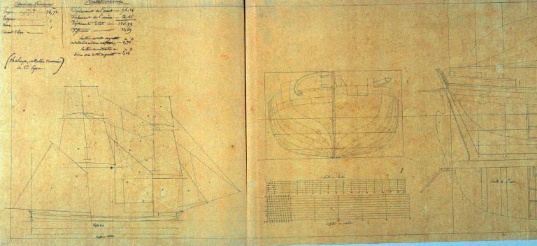 Longitudinal Sections of a Sailing Vessel